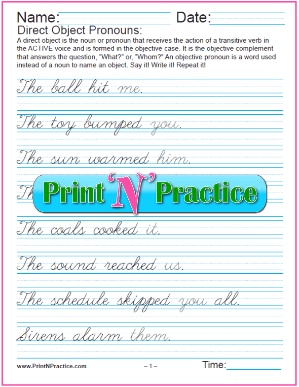 Direct Object Pronouns Worksheets - Cursive