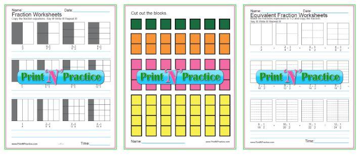 Equivalent Fraction Worksheets Charts, graphs, copywork.