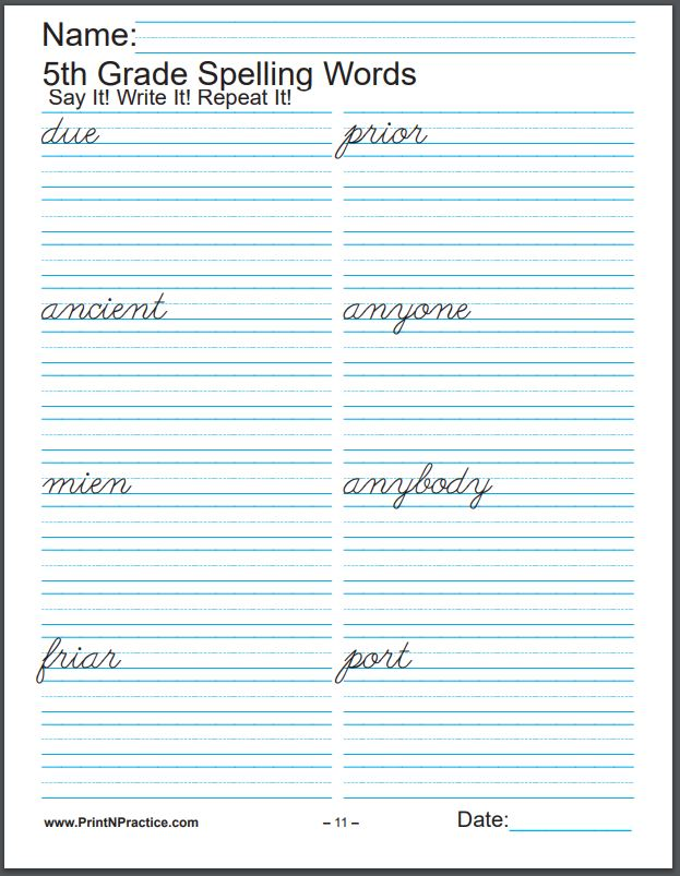Printable Spelling Worksheets: Fifth Grade Spelling Worksheet Sample - Cursive