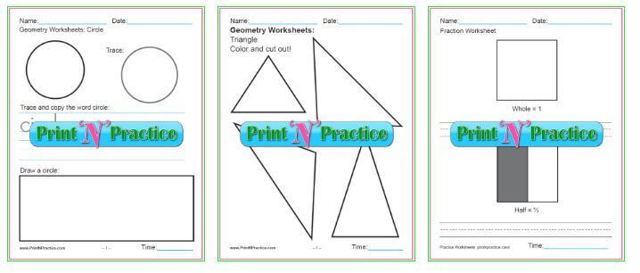 First Grade Math Worksheets: Addition, Shapes, and more.