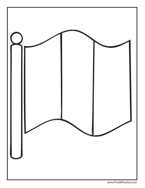Vertical Tricolor Flag Coloring Pages - French Flag Coloring Page
