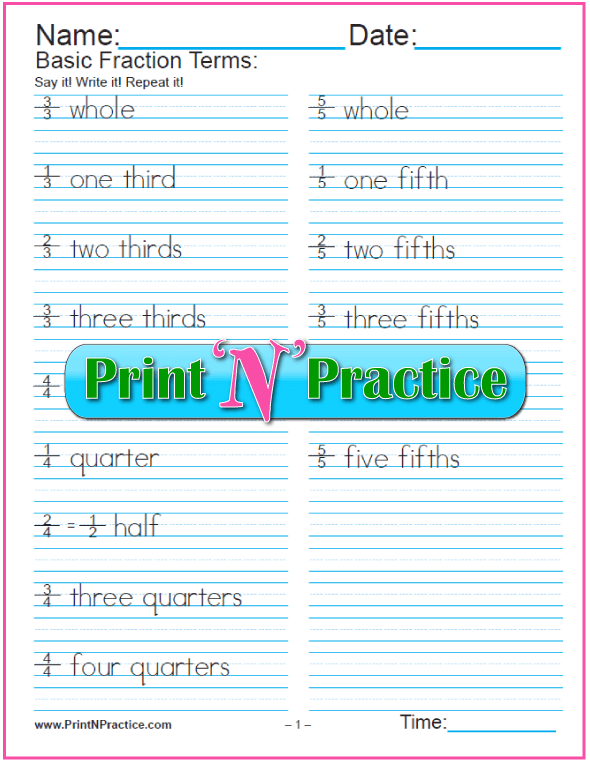 3 Pages of Fraction Names Worksheets - PDF