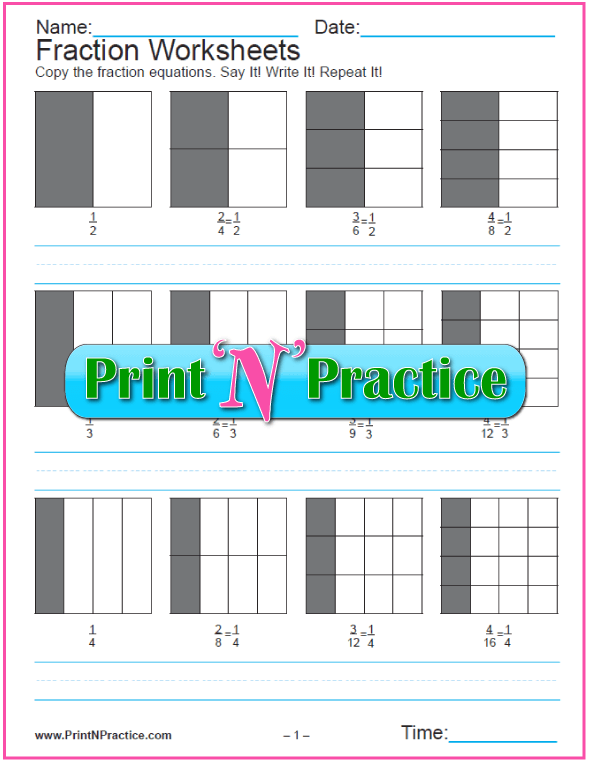 Fractions Shapes One Part - Equivalent Fraction Worksheets