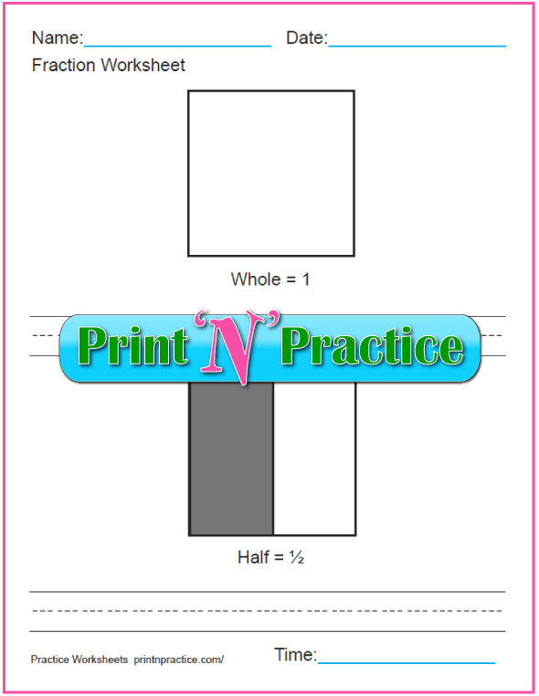 First Grade Math Worksheets: Printable Fractions Worksheets