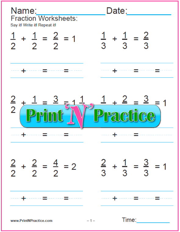 Easy Addition of Fractions Examples for Beginners.