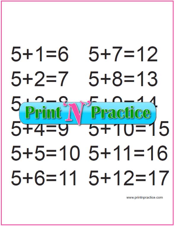 Fives Kindergarten Addition