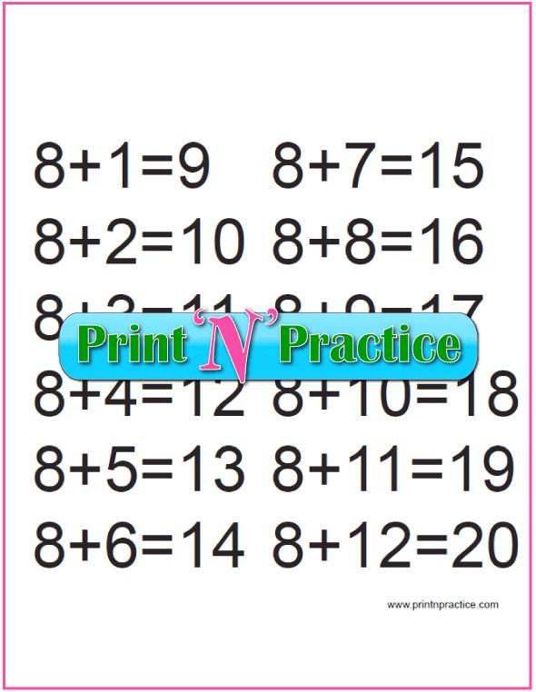 Eights Kindergarten Addition