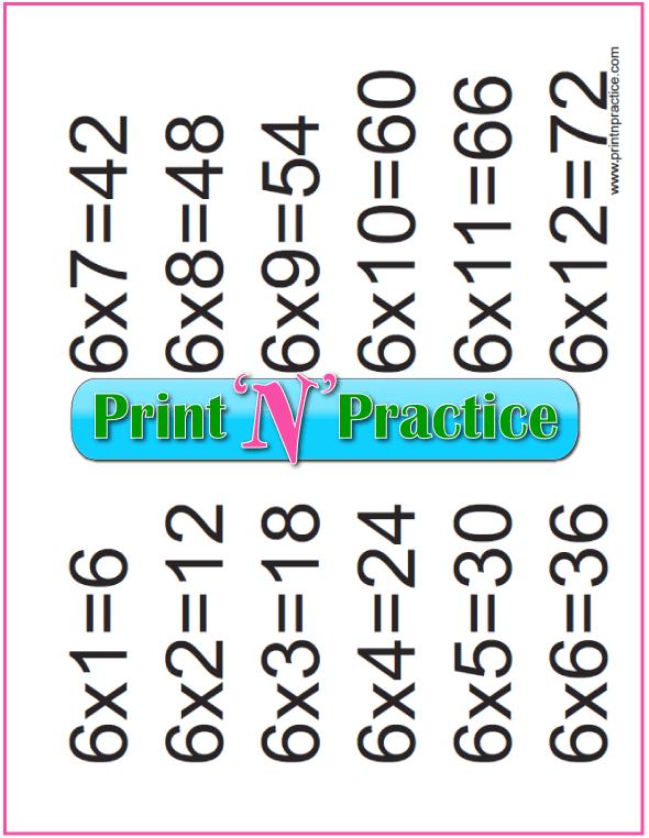 Sixes Printable Multiplication Chart