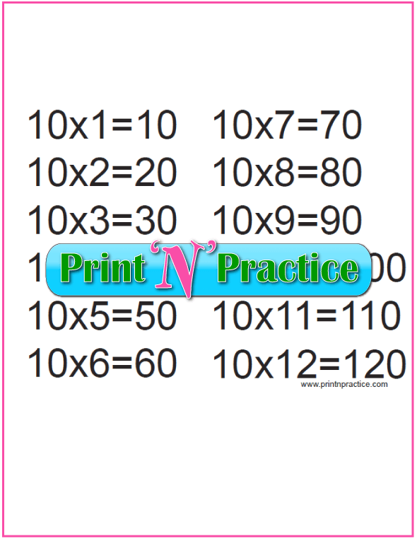 Printable Multiplication Table 10x