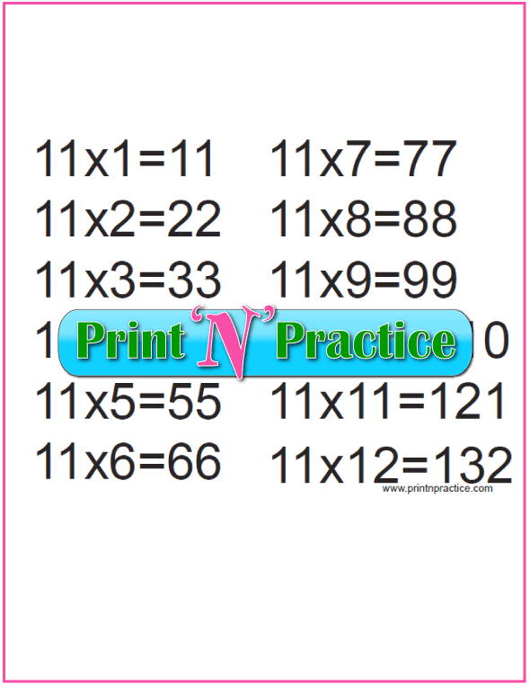 Printable Multiplication Table 11x