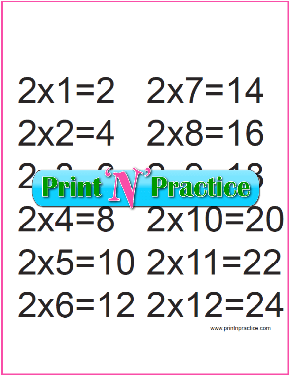 Printable Multiplication Table 2x