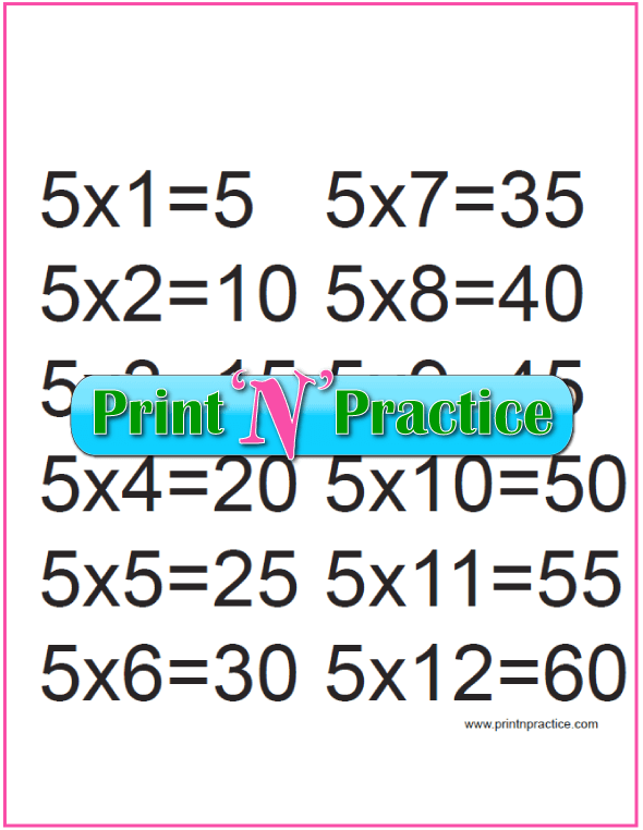 Printable Multiplication Table 5x