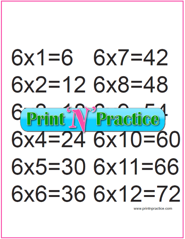 Printable Multiplication Table 6x