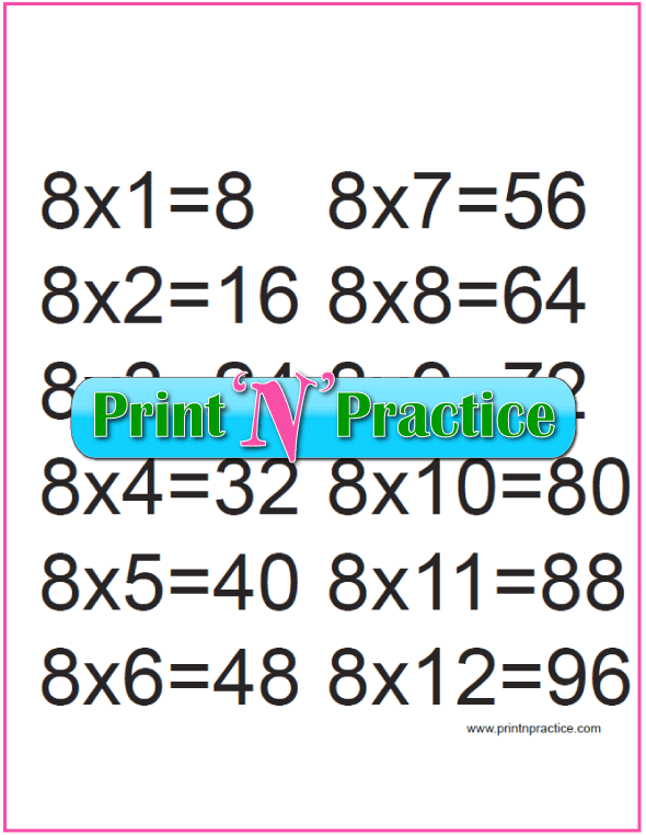 Printable Multiplication Table 8x