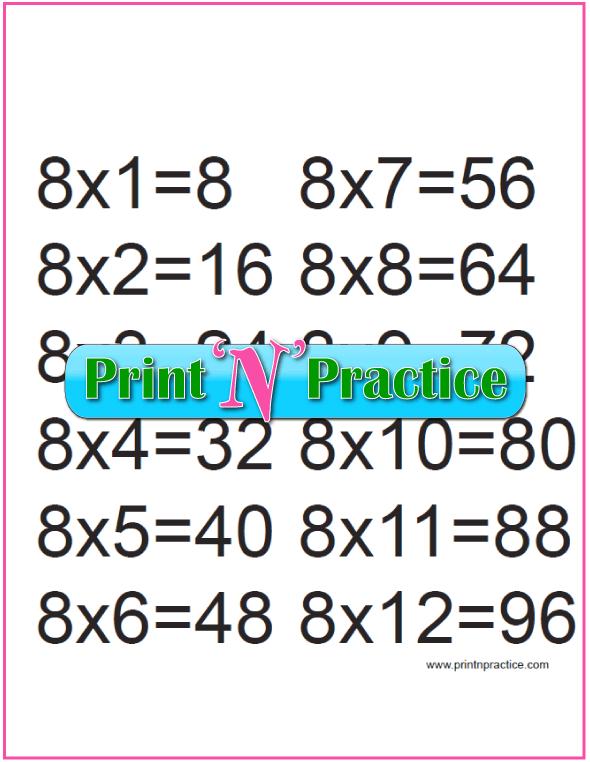 Printable Multiplication Table 8x