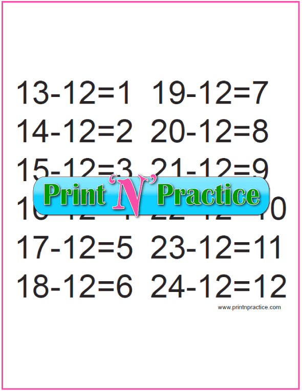 Subtraction Flip Chart Twelves Table