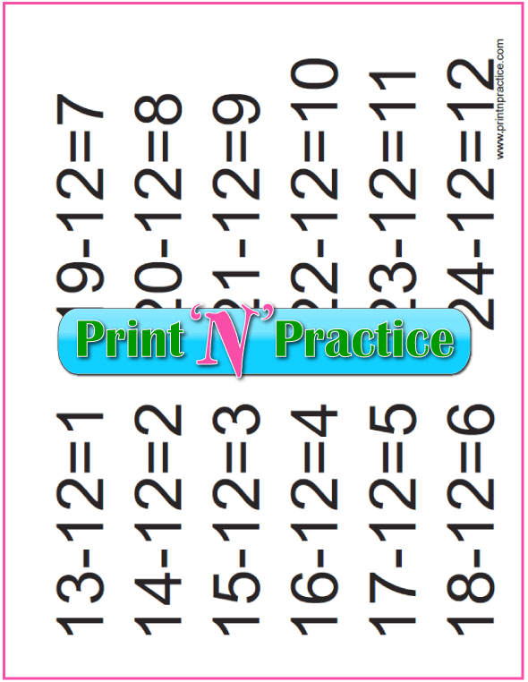 Subtraction Sheets: 12s table.