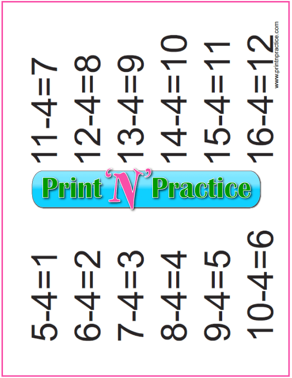 Subtraction Practice Chart: Fours table.