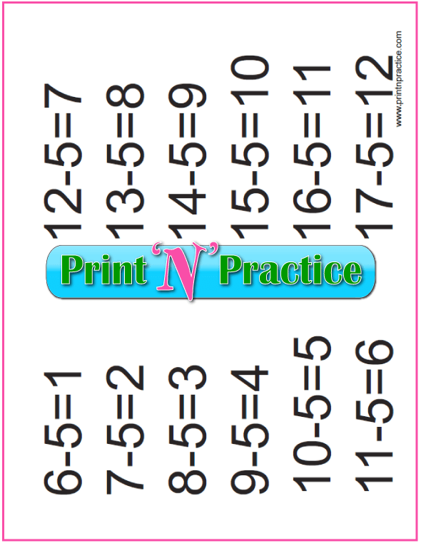 Printable Subtraction Practice Chart: Fives table.