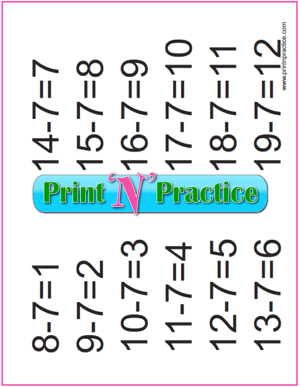 Subtraction Exercises: Sevens table.