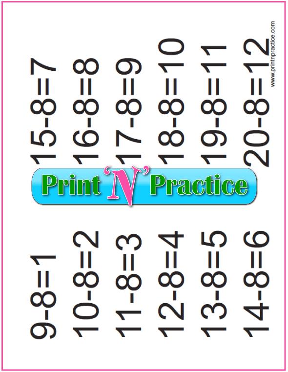 Subtraction Activities: Eights table.