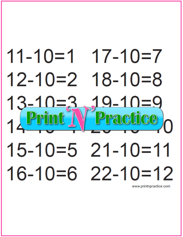 Kindergarten Subtraction Activities for the Tens