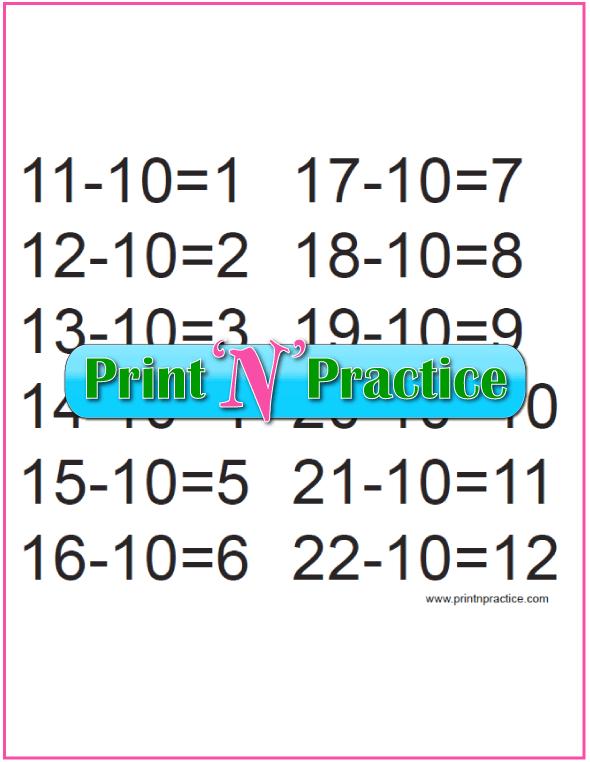 Kindergarten Subtraction Activities for the Tens