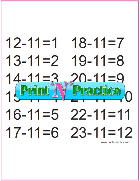 Kindergarten Subtraction Exercises for the Elevens