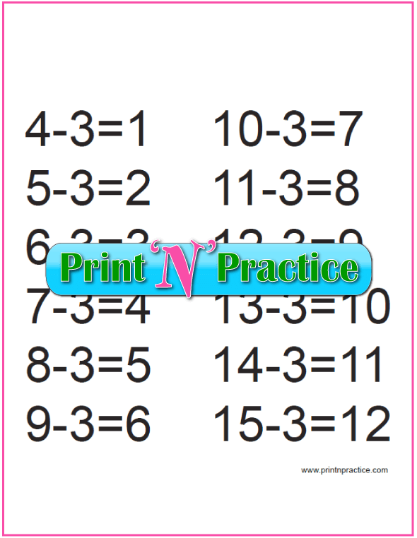 Subtraction Printable for the Fours