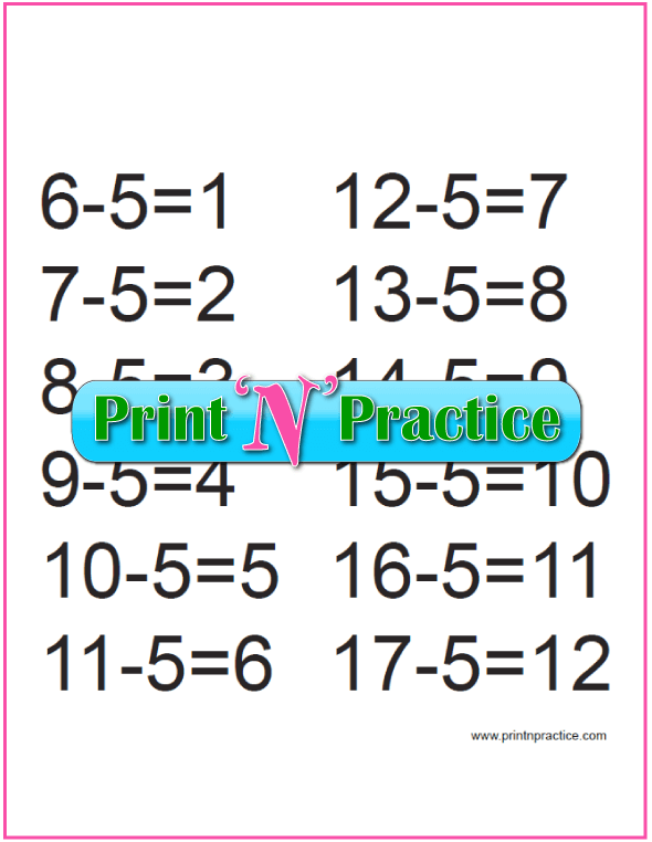 Learn Subtraction: Fives