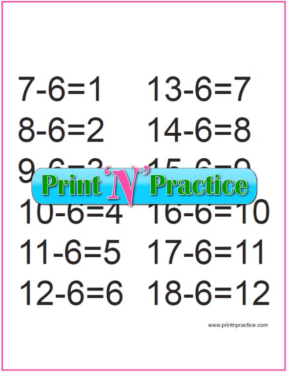 Kindergarten Subtraction for the Sixes