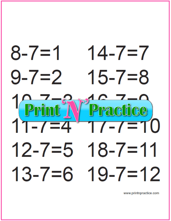 First Grade Subtraction for the Sevens