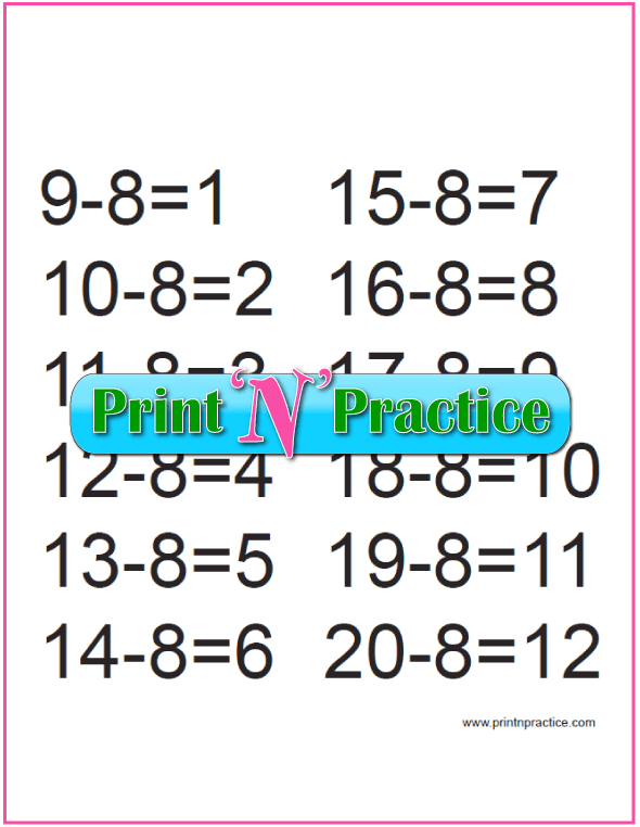 Second Grade Subtraction for the Eights
