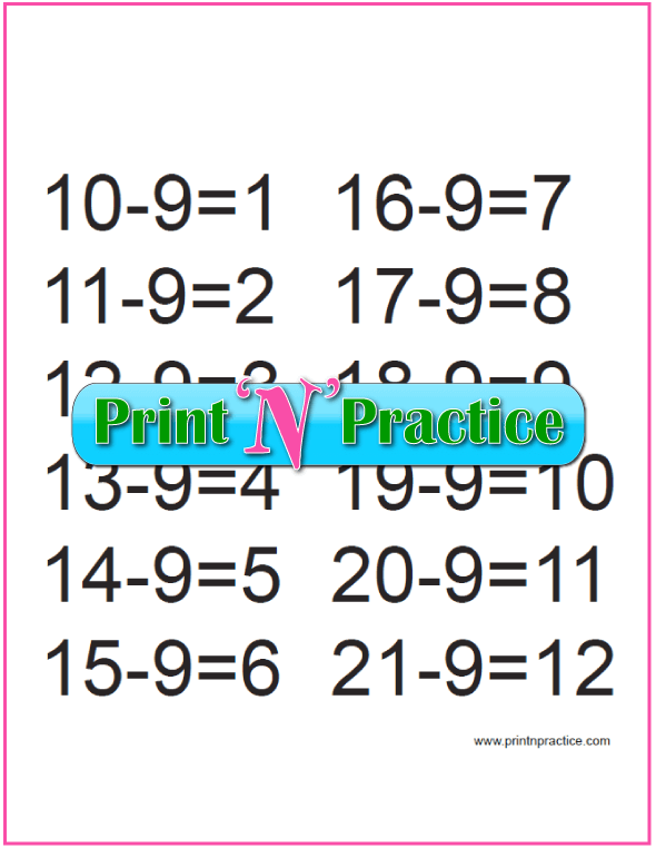 Third Grade Subtraction for the Nines