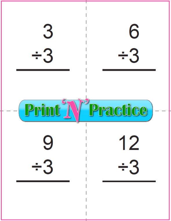 Six Page Printable Division Flash Cards - Prints to double side, one with answers, one without. Divide by three.