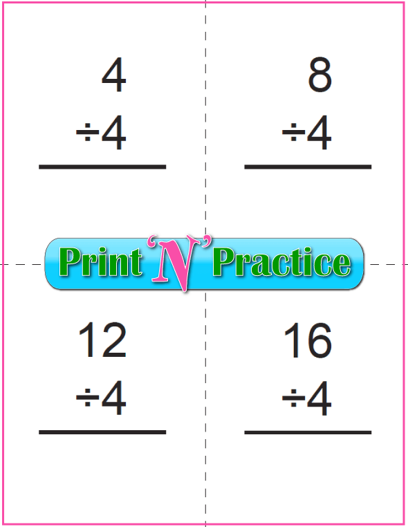 Six Page Division Flash Cards - Prints to double side, one with answers, one without. Divide by four.