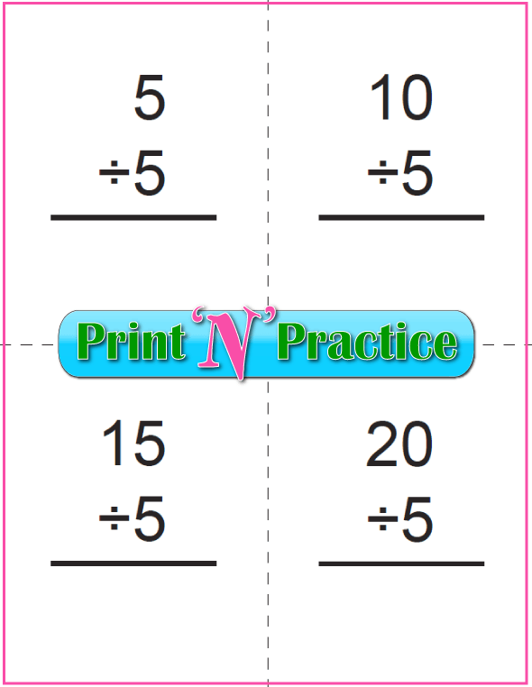 Six Page Division Flash Cards - Prints to double side, one with answers, one without. Divide by five.