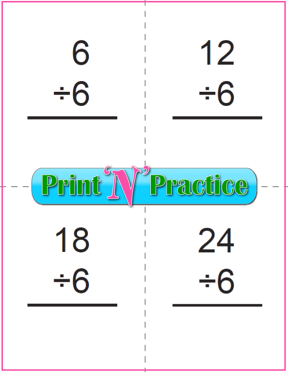 Six Page Division Flashcards - Prints to double side, one with answers, one without. Divide by six.