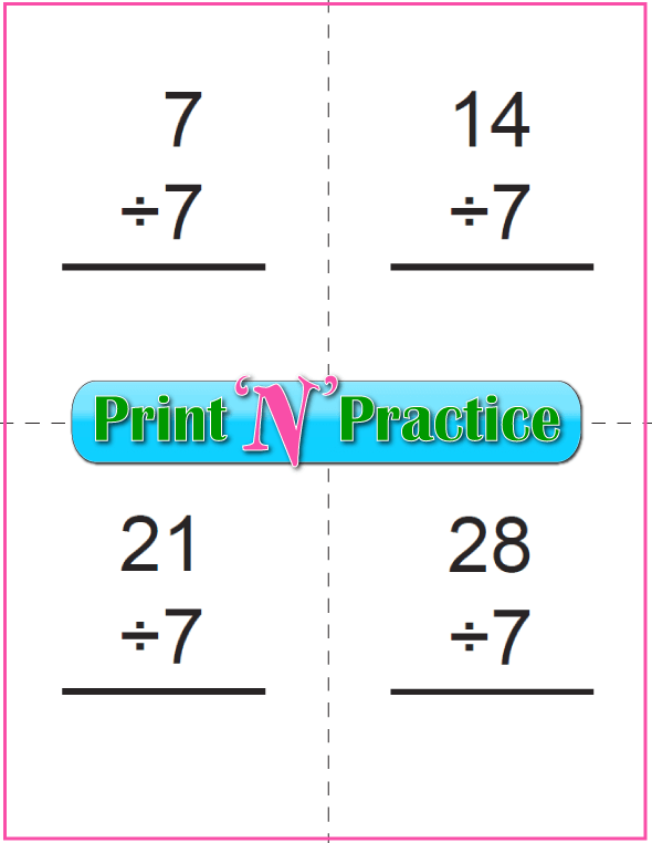 Six Pages Division Flashcards - Prints to double side, one with answers, one without. Divide by seven.