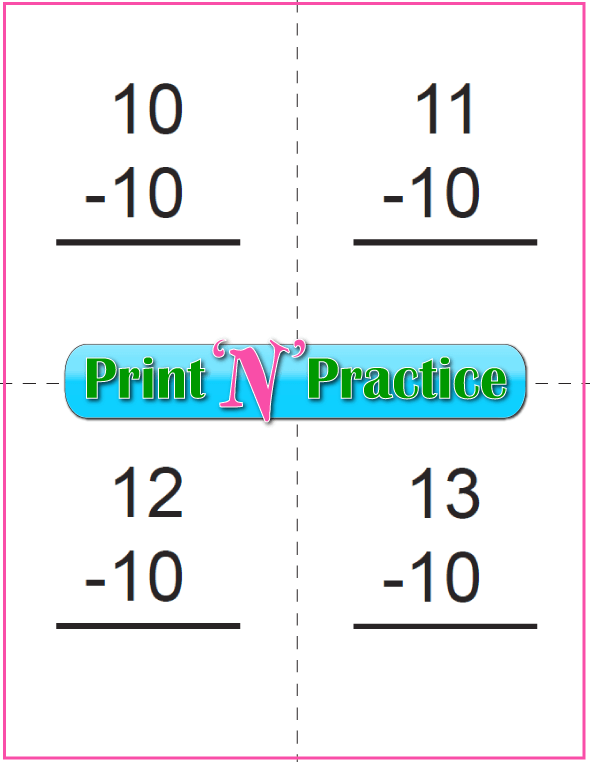 Use Kindergarten Subtraction Worksheets with Subtraction Flash Cards: To 10 - Tens table.