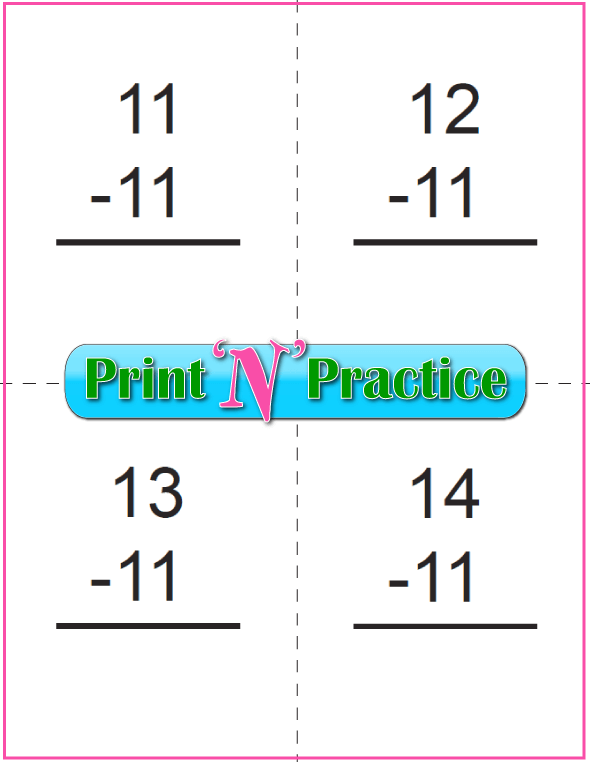 Use Kindergarten Subtraction Worksheets with Subtraction Flash Cards: Subtract Eleven