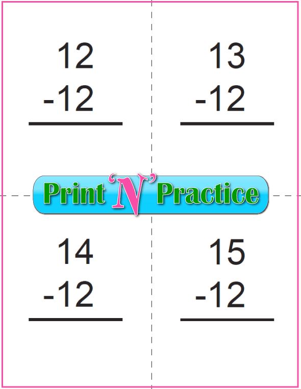 Use Kindergarten Subtraction Worksheets with Subtraction Flash Cards: Subtract Twelve