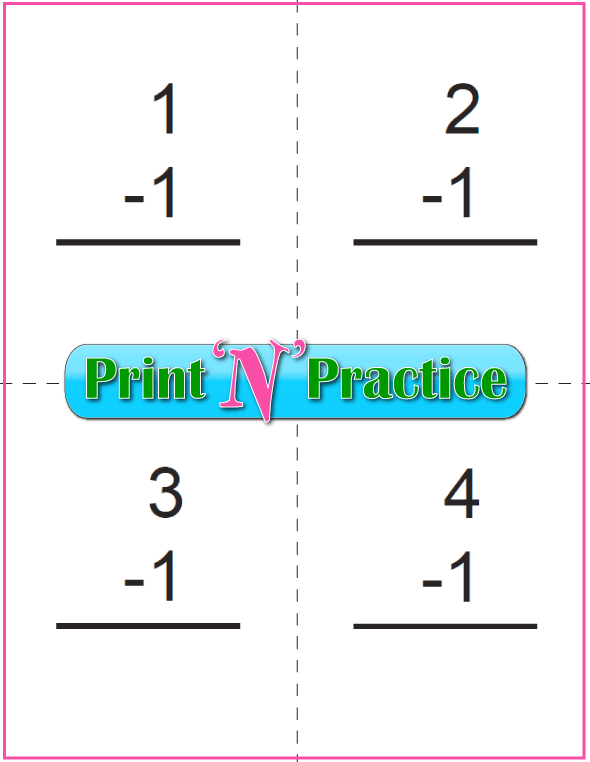 Use Kindergarten Subtraction Worksheets with Subtraction Flash Cards: Print double sided with answers on one side, or single sided. Ones Table.