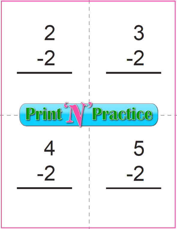 Use Kindergarten Subtraction Worksheets with Subtraction Flash Cards: Twos table.
