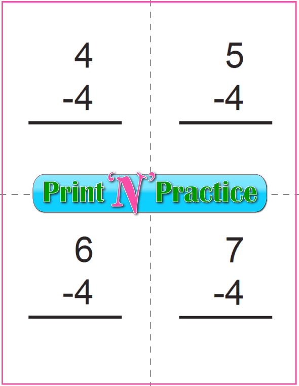 Use Kindergarten Subtraction Worksheets with Subtraction Flash Cards: Fours table.