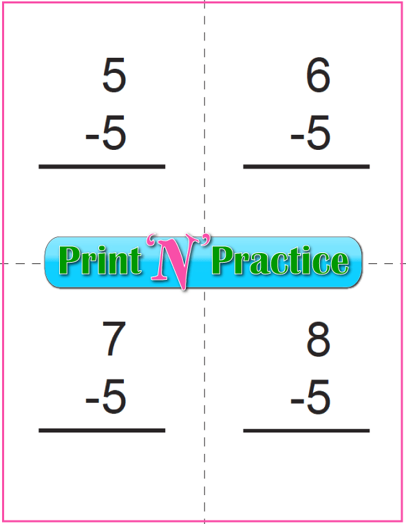 Use Kindergarten Subtraction Worksheets with Subtraction Flash Cards: Fives table.