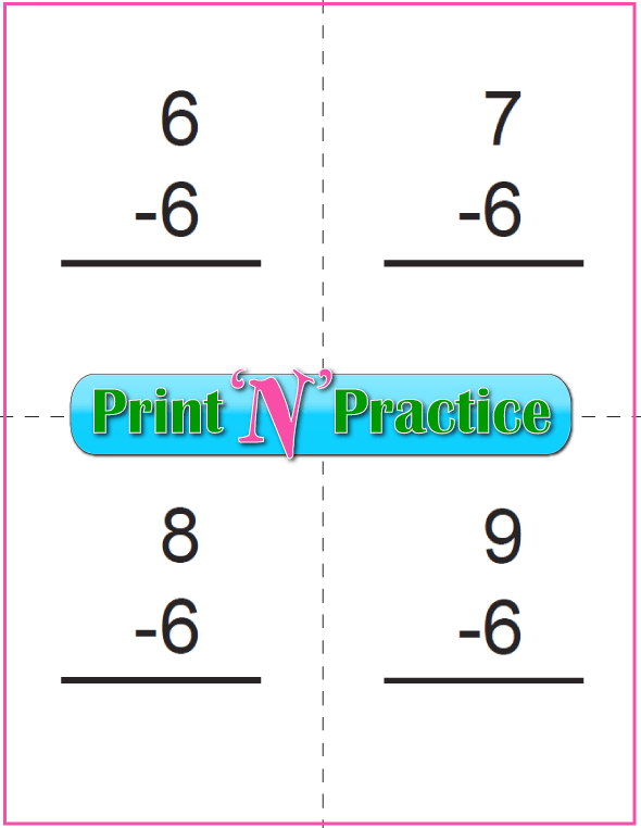 Use Kindergarten Subtraction Worksheets with Subtraction Flash Cards: Sixes table.