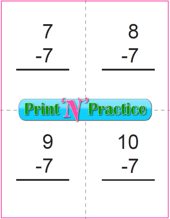 Use Kindergarten Subtraction Worksheets with Subtraction Flash Cards: Sevens table.