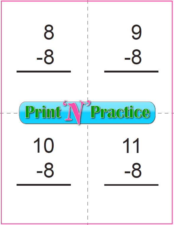 Use Kindergarten Subtraction Worksheets with Subtraction Flash Cards: Eights table.