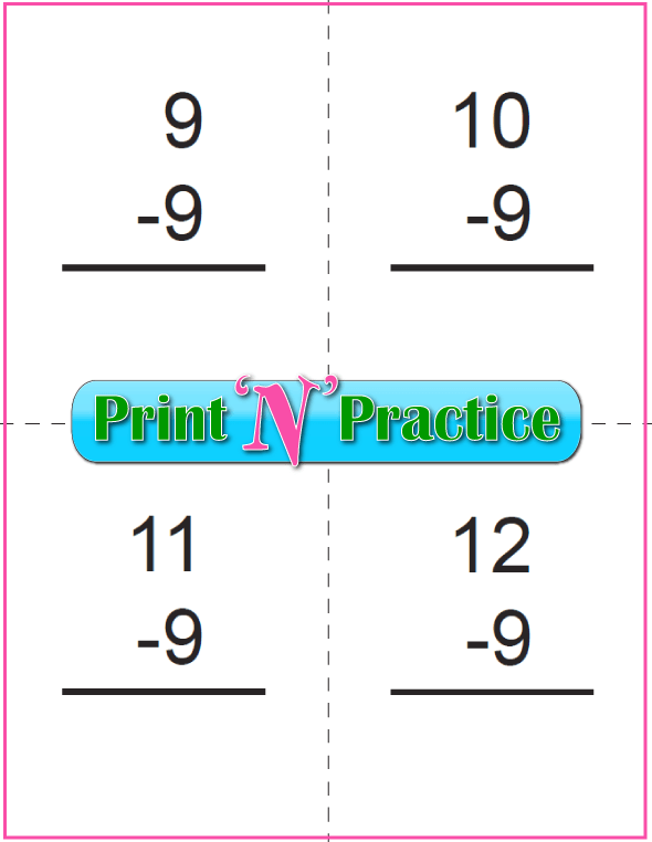 Use Kindergarten Subtraction Worksheets with Subtraction Flash Cards: Nines table.